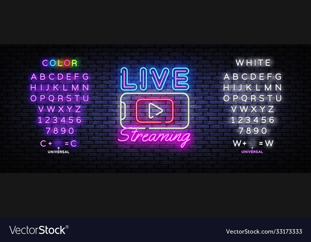 Live streaming only neon text design