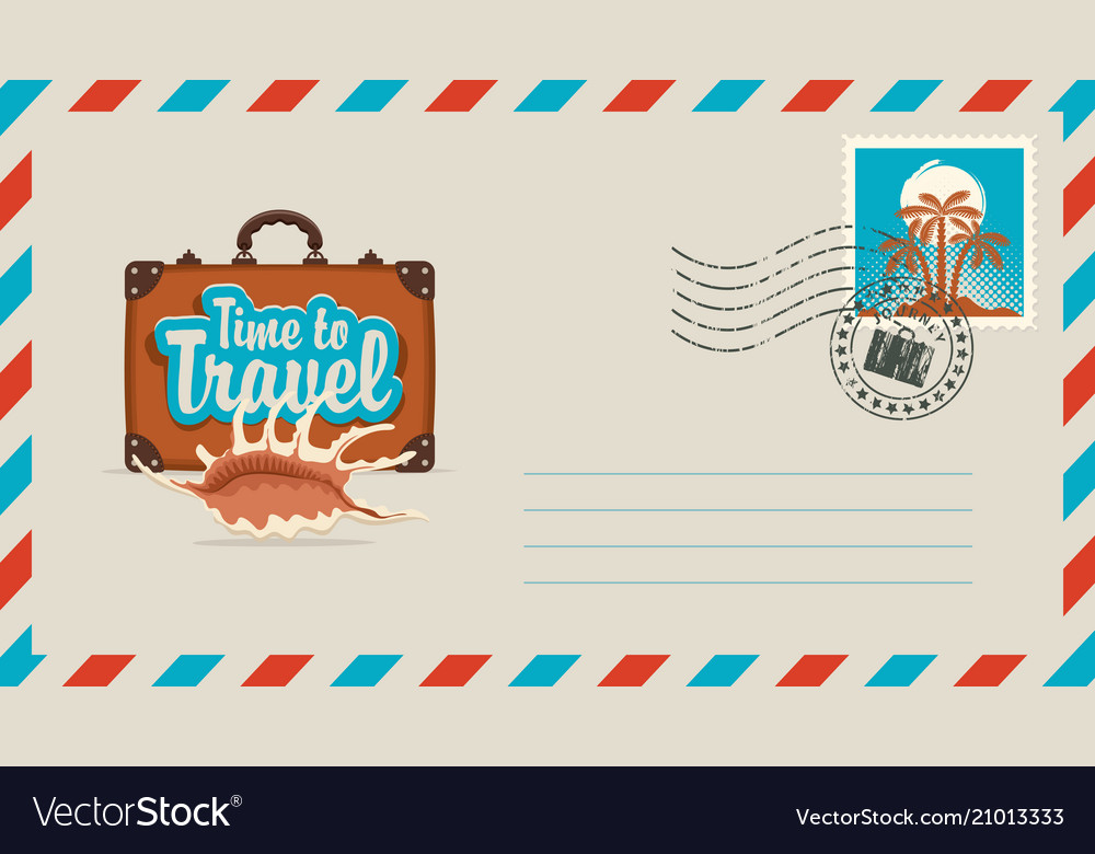 Postal envelope with stamp on the theme of travel