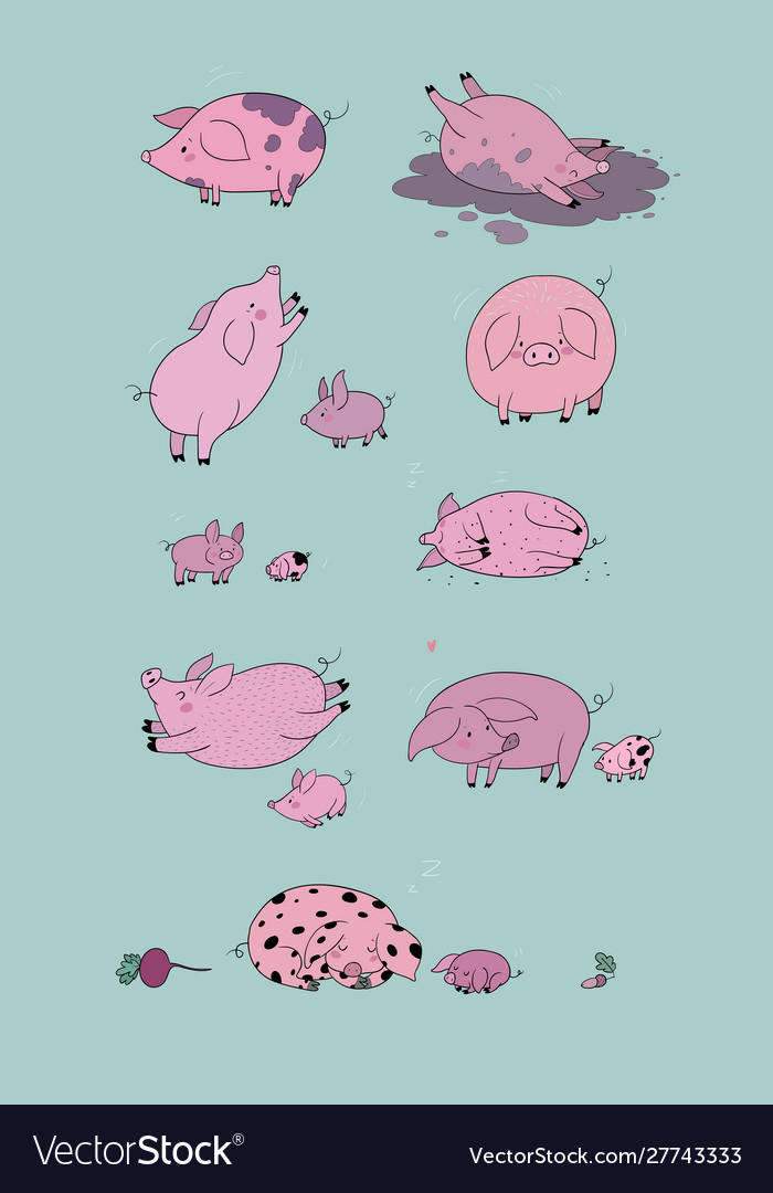 Set with cute cartoon pigs farm animals