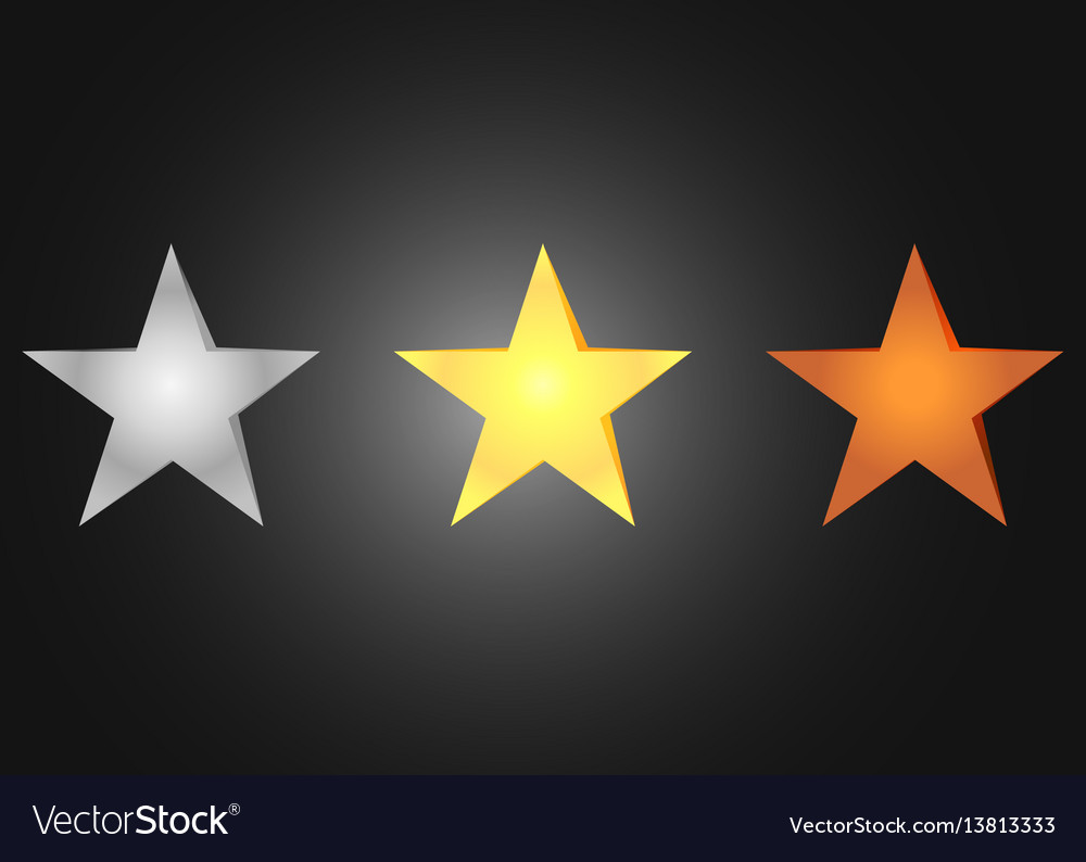 Stars bronze silver and golden vector image