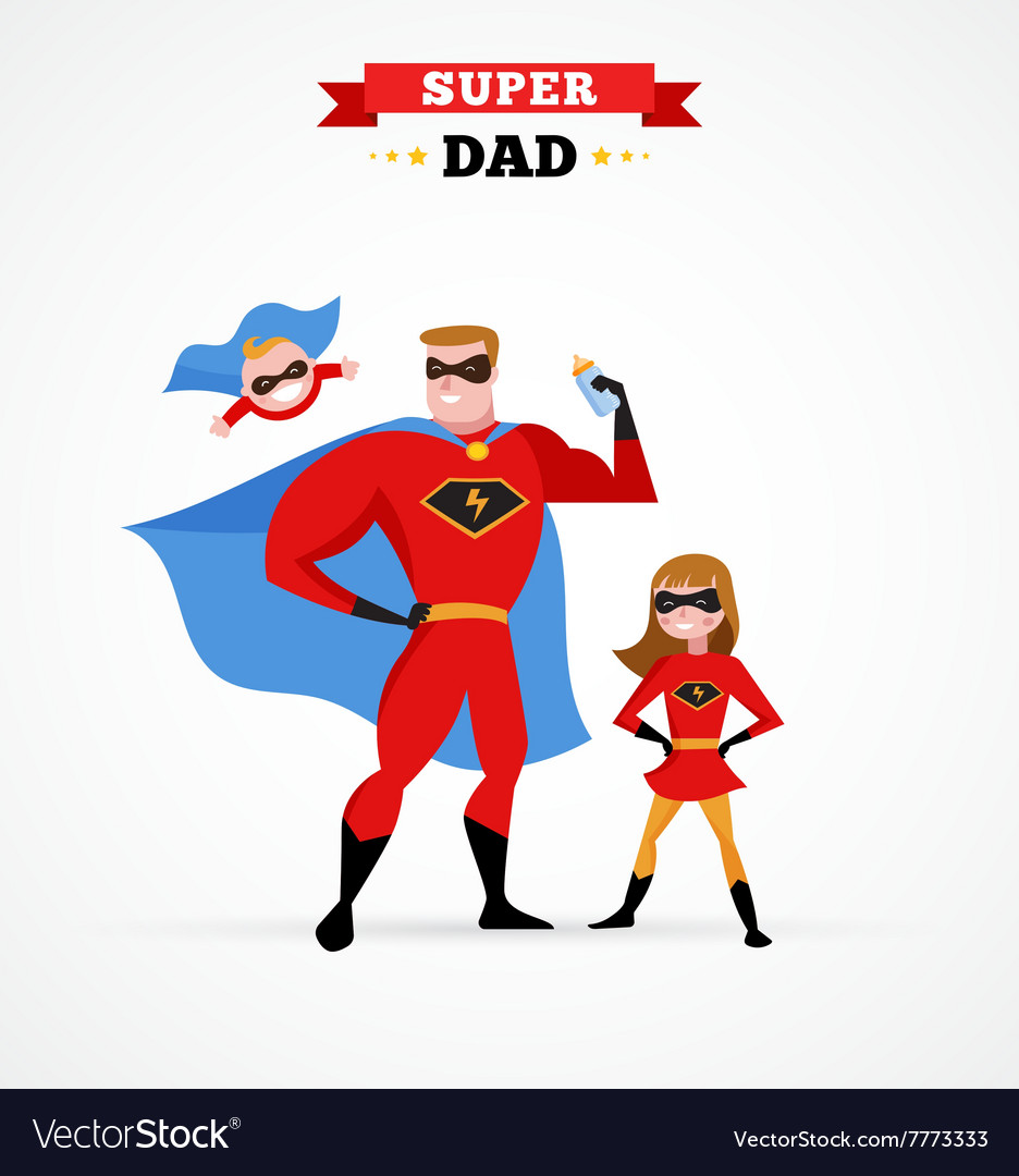 sc 1 st  VectorStock & Super hero daddy in superhero costume with kids Vector Image