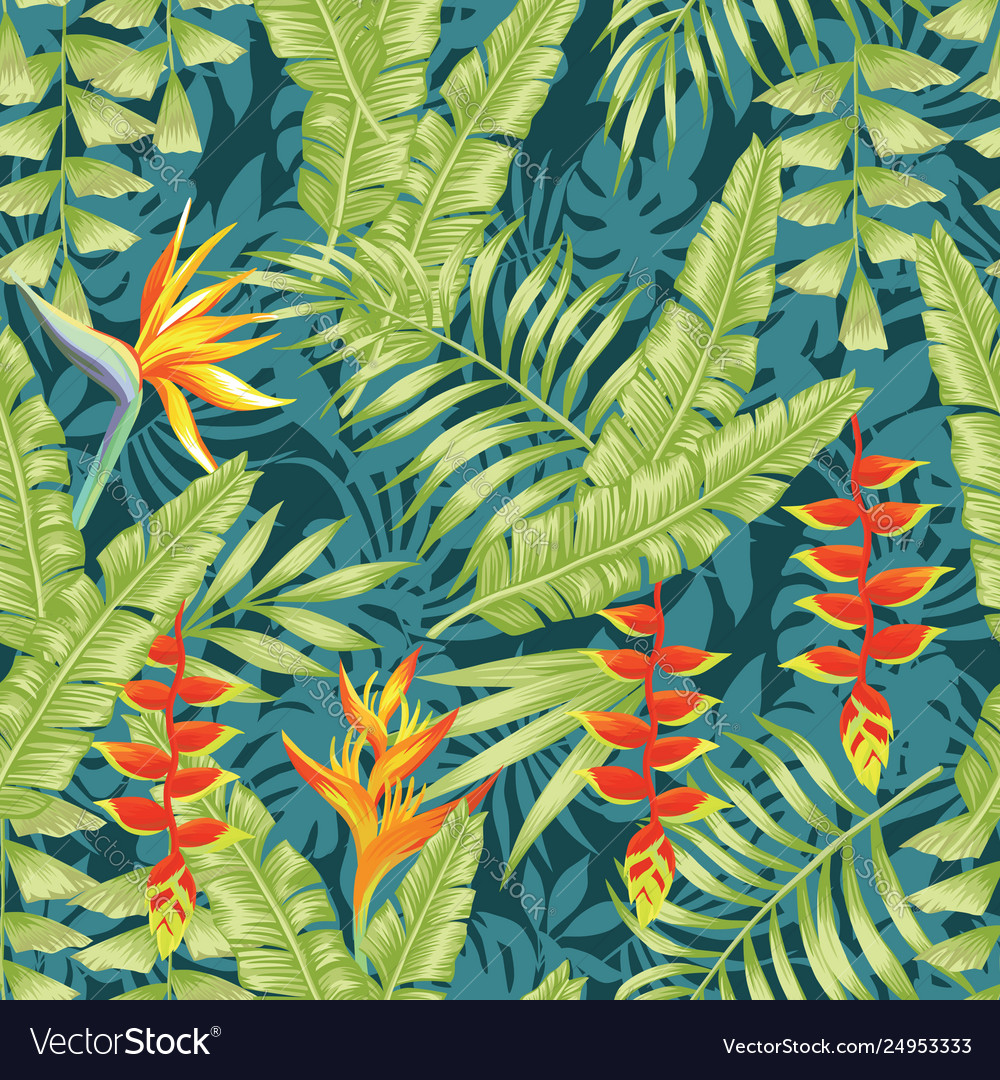 Tropical flowers and leaves seamless pattern