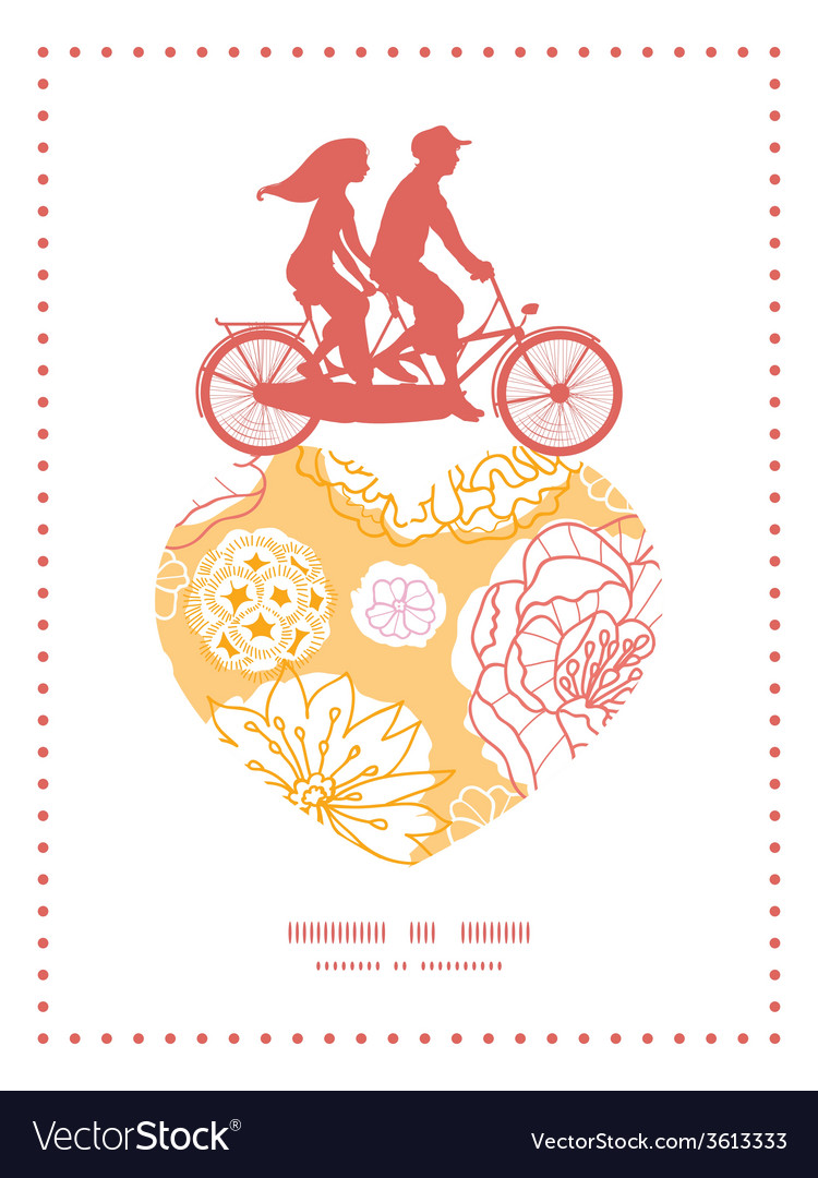 Warm day flowers couple on tandem bicycle heart