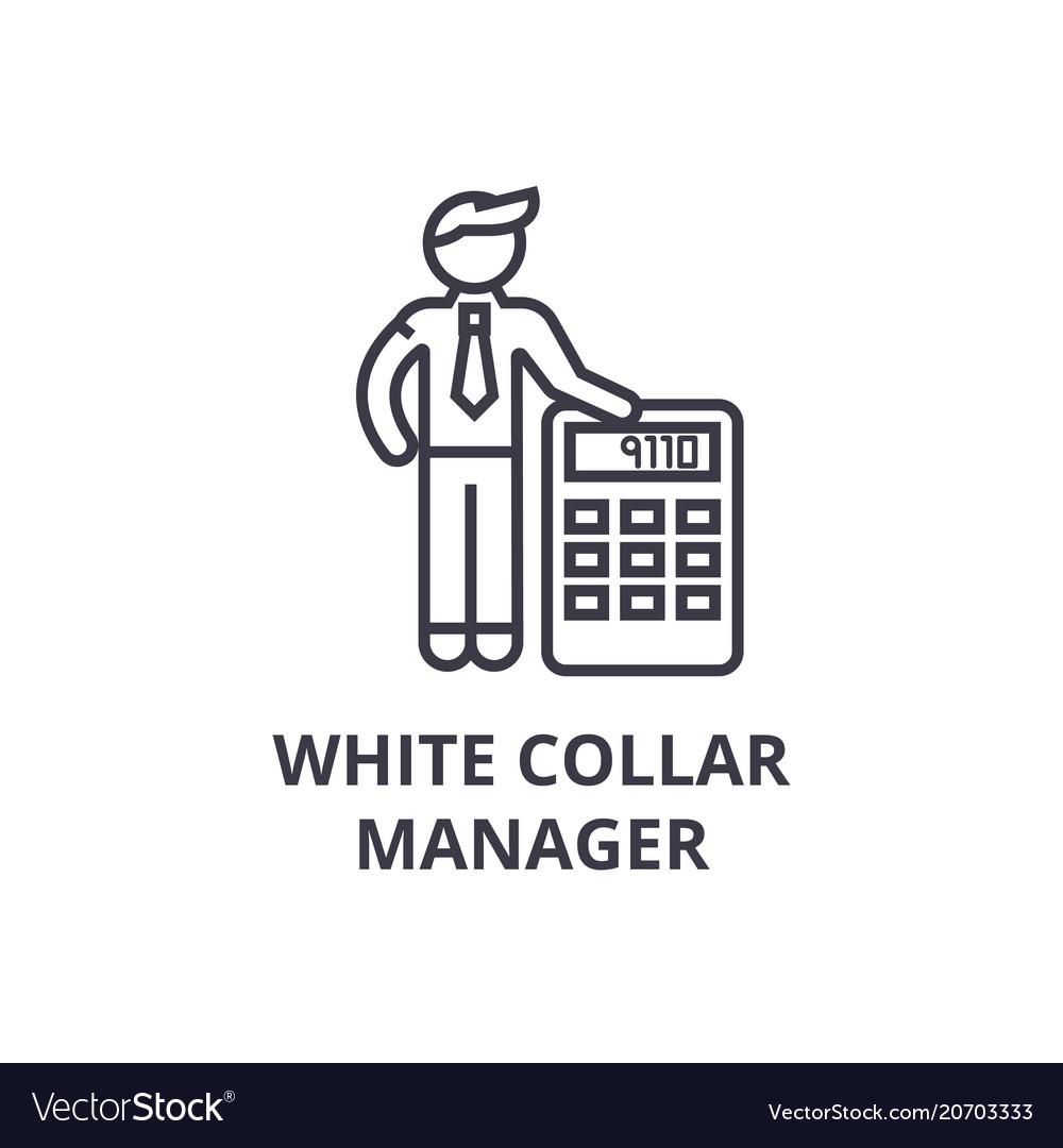 White collar thin line icon sign symbol