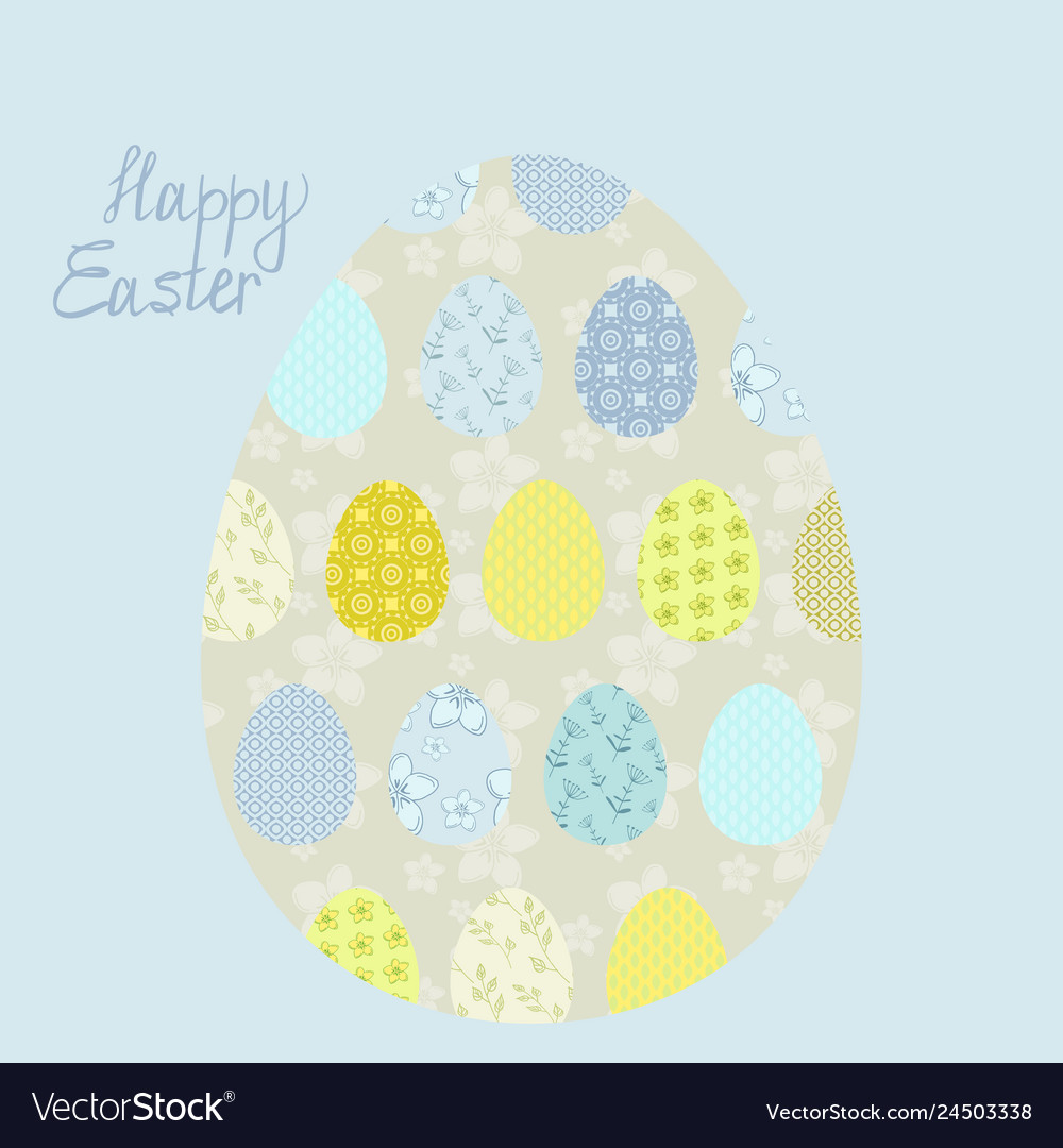 Eggs easter greeting card with patterns and letter
