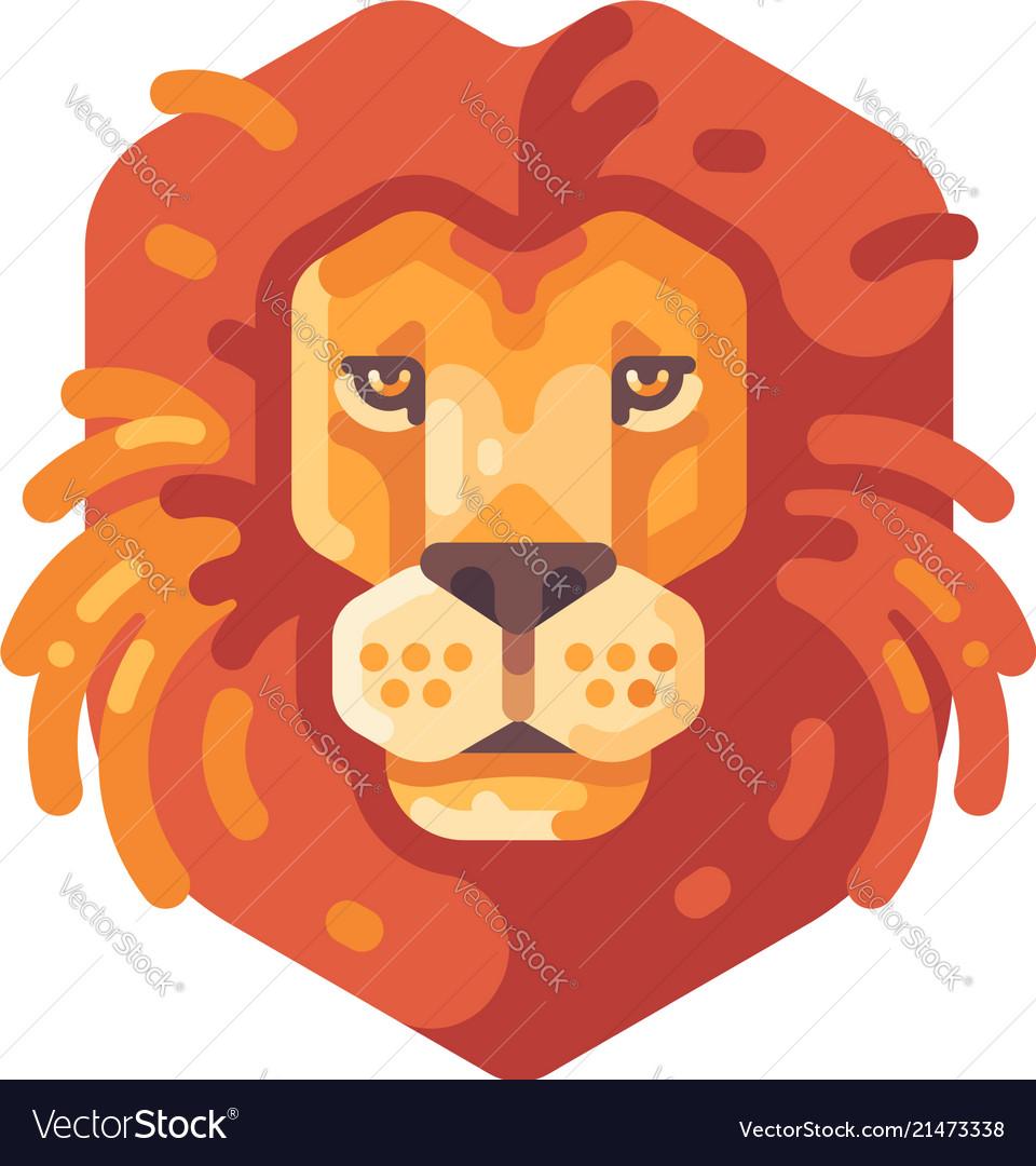 Lion head flat icon wild animal