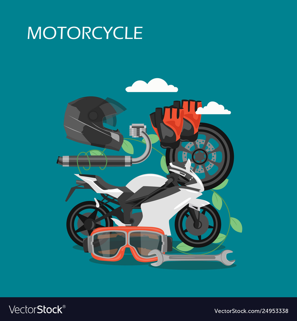 Motorcycle accessories flat style design