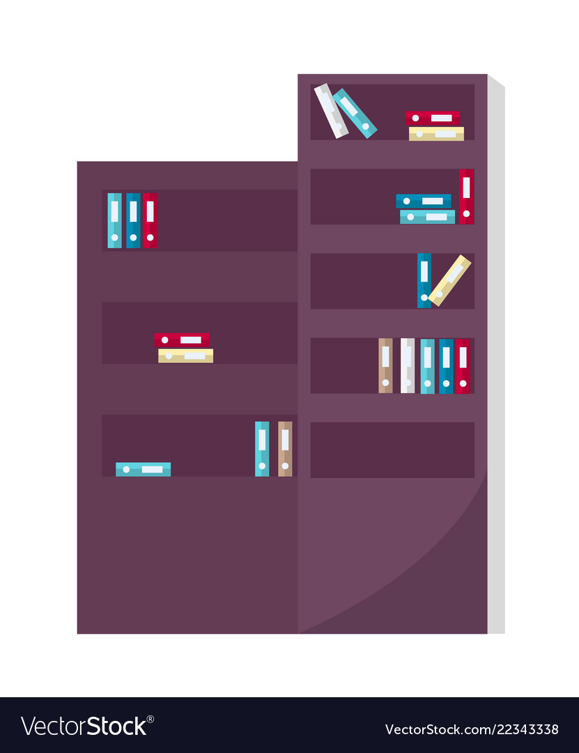 Office furniture bookcase with book and literature