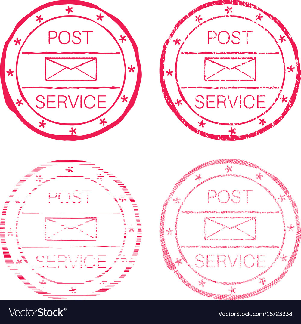 Post service red faded round stamp