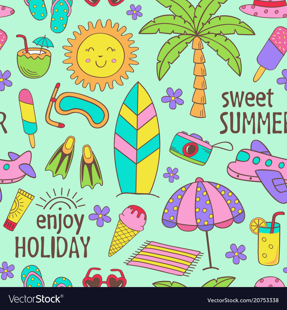 Seamless pattern with summer icons