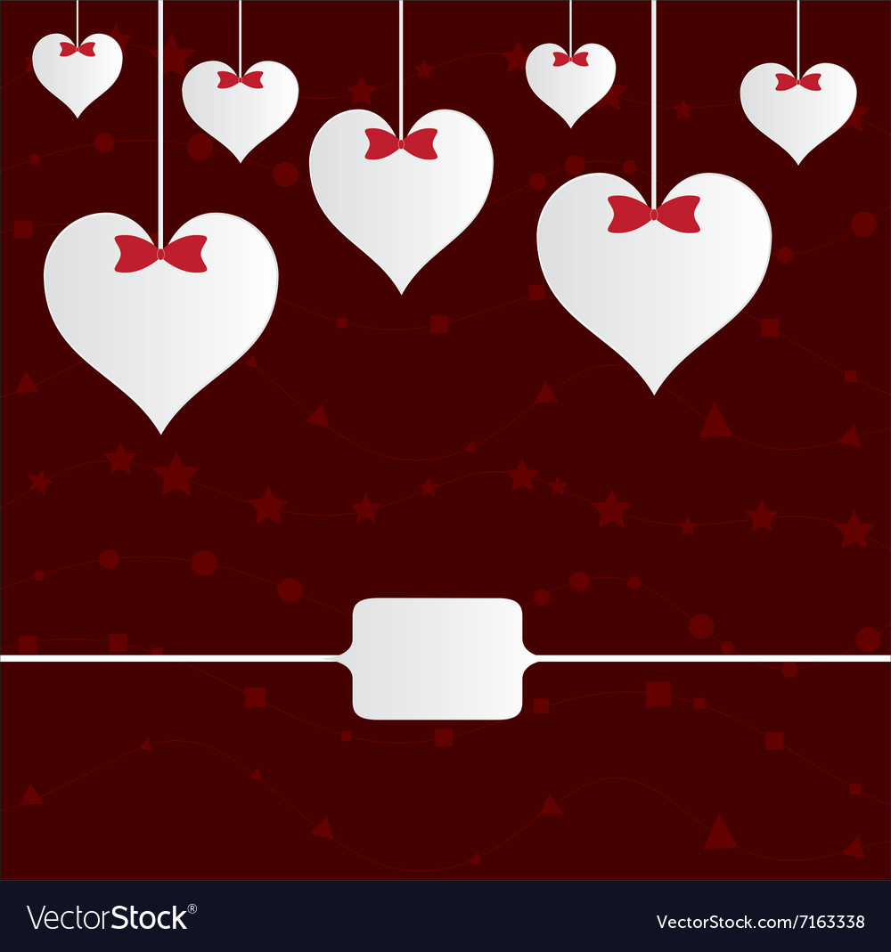 Valentine hearts with ribbons on red vector image