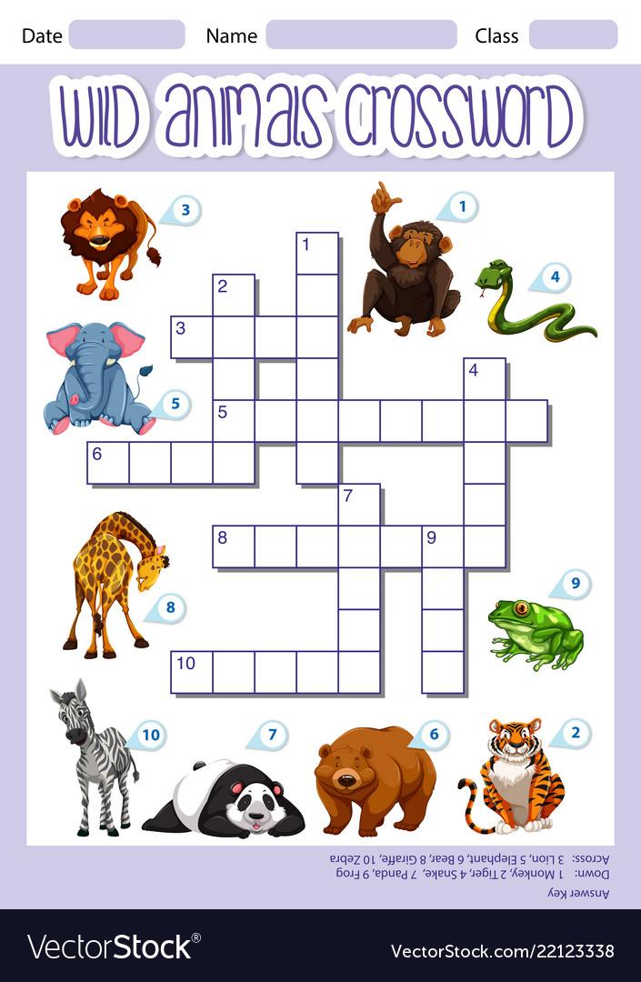 Wild animals crossword template Royalty Free Vector Image