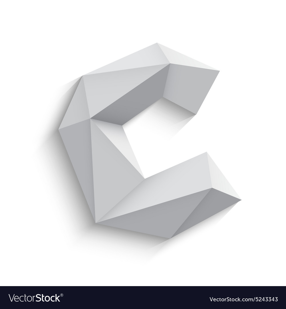 3d letter C on white Royalty Free Vector Image