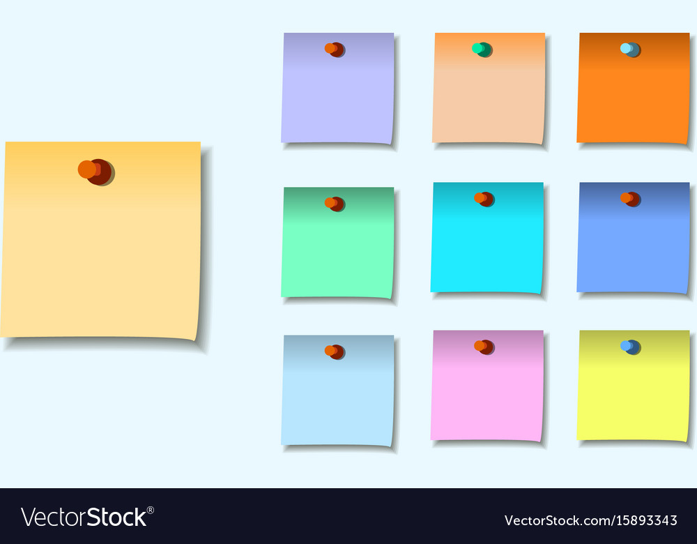A colored set of sticky notes