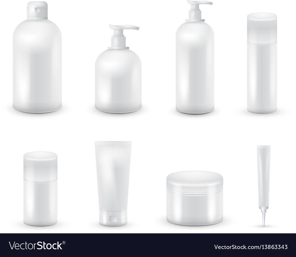 Blank cosmetic package collection set isolated on vector image