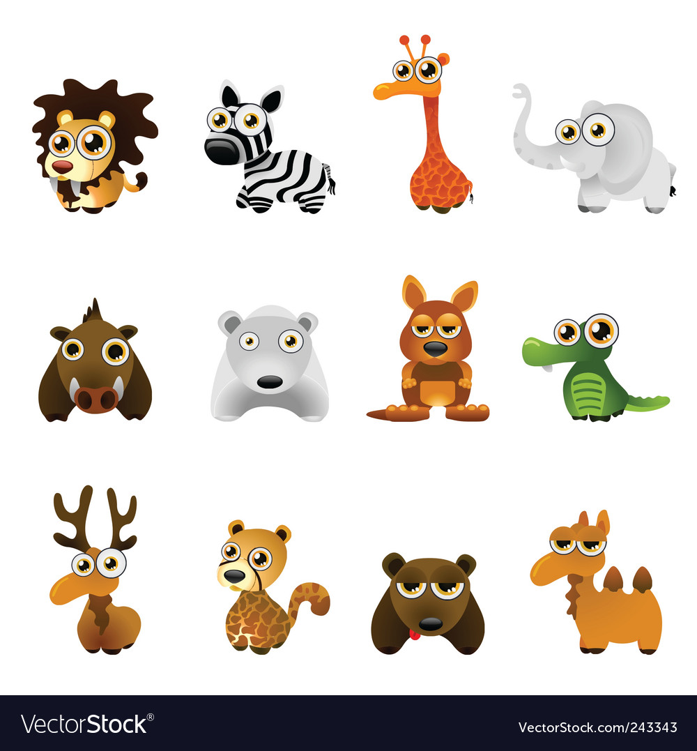Cartoon wild animal set