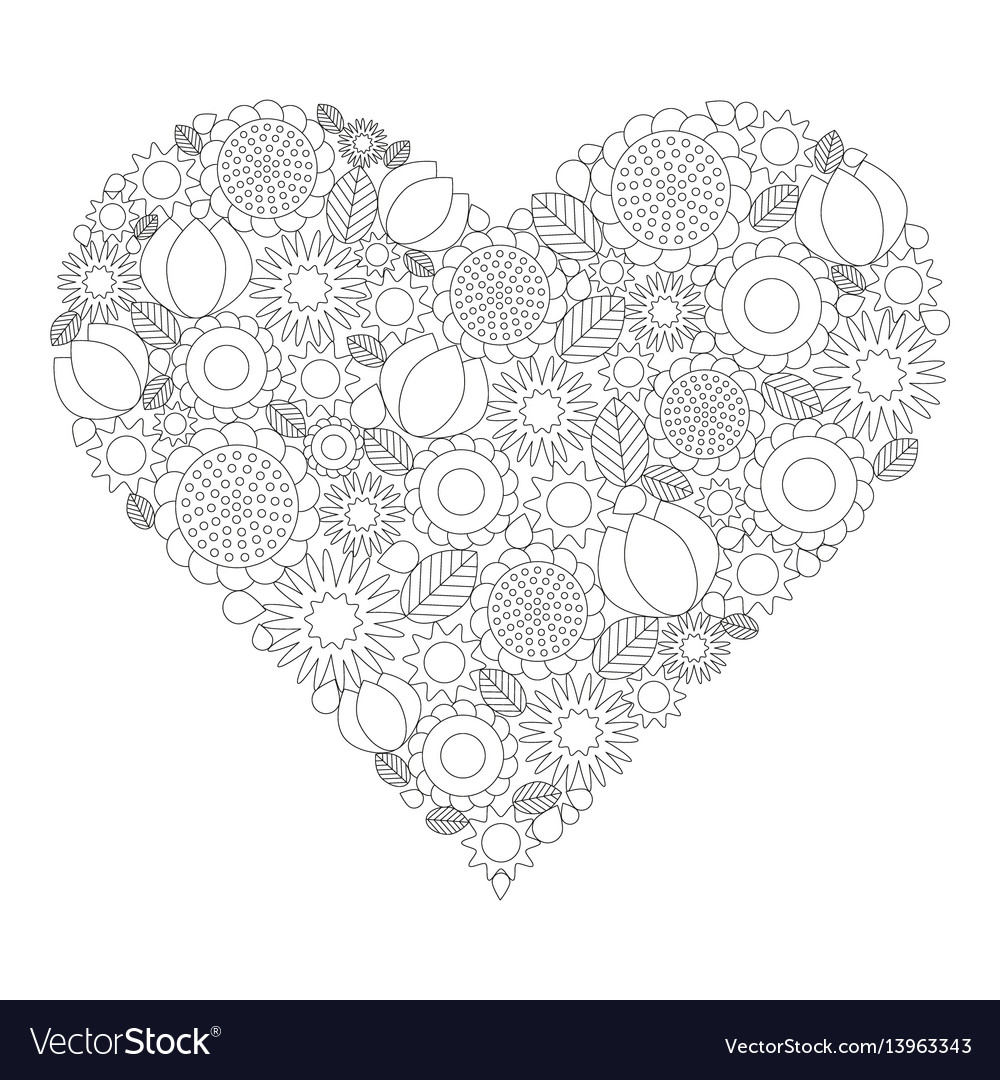 Floral heart coloring book page black and white