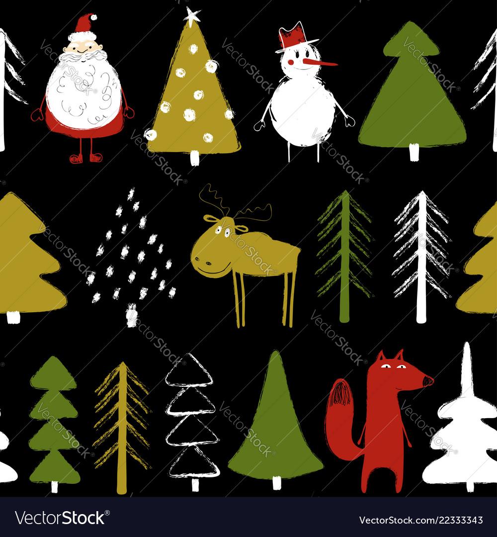 Funny christmas holiday seamless pattern