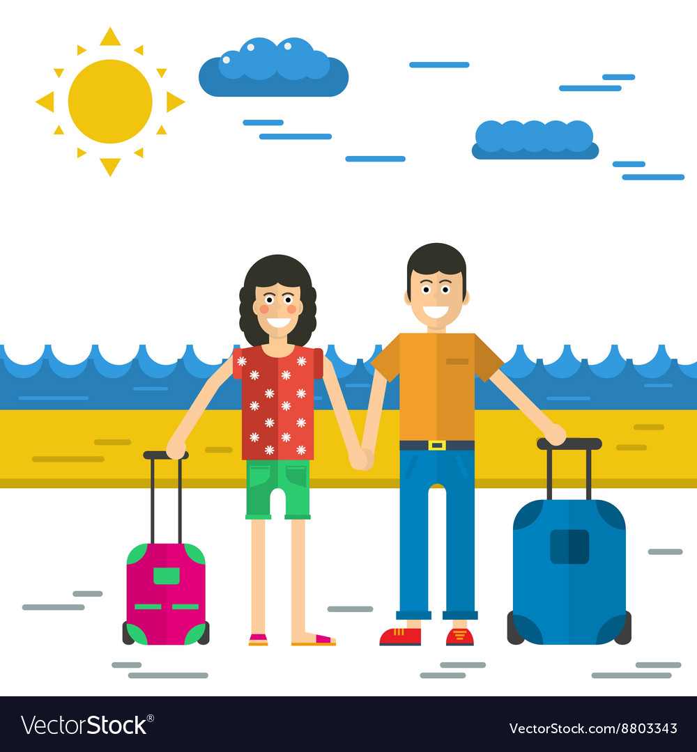 Man and woman go to vacation