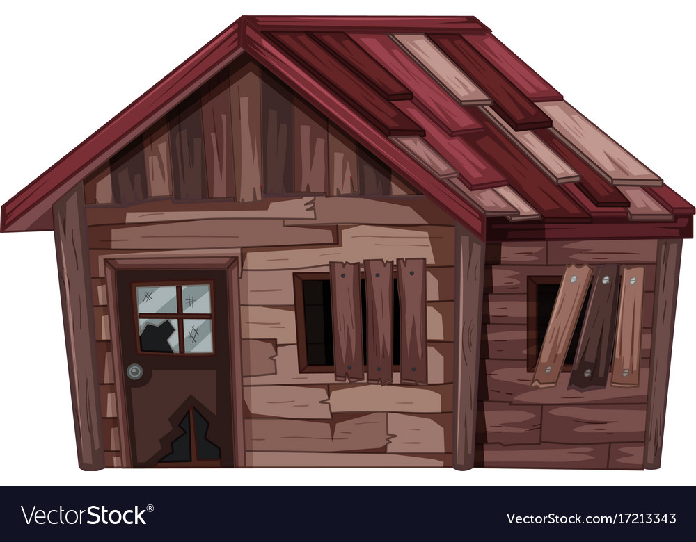Old wooden house in bad condition vector image