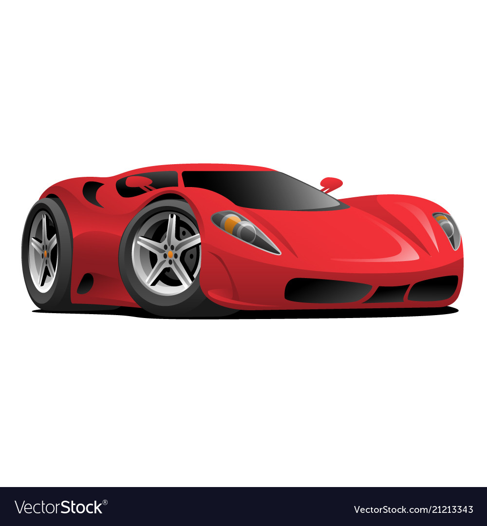 Red Hot European Style Sports Car Cartoon Vector Image