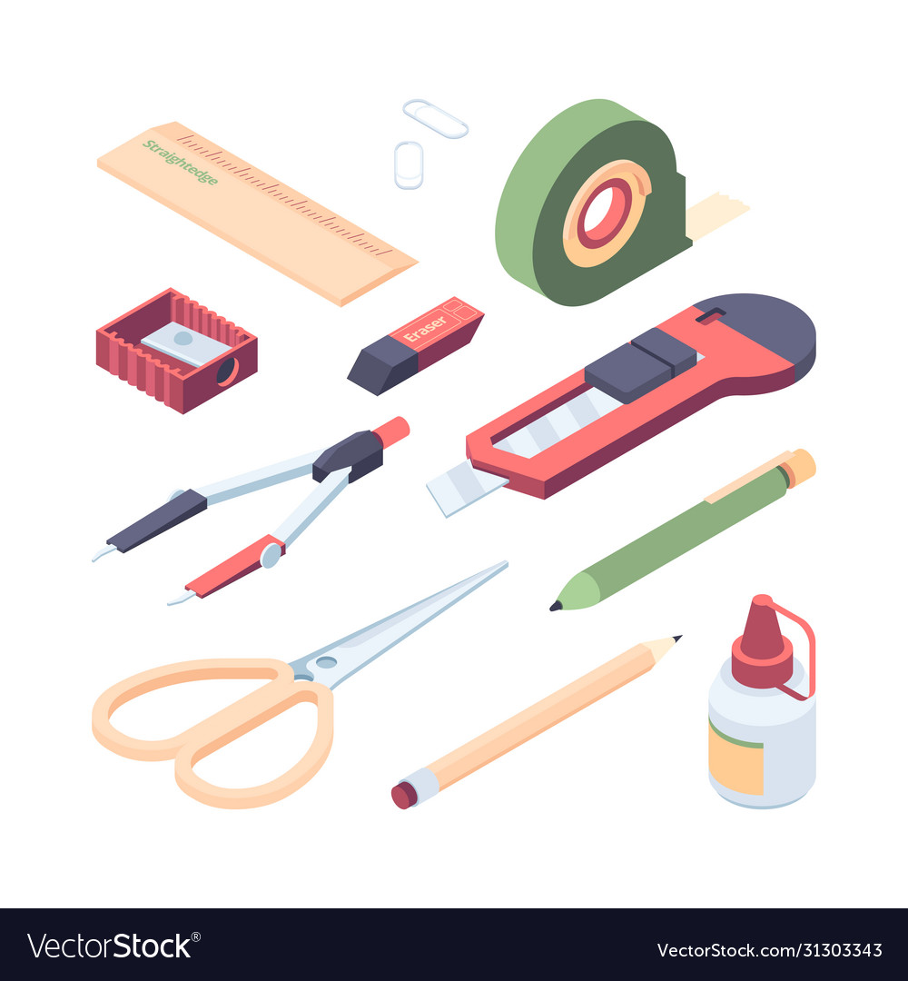 Stationery items set color kit for colorful art