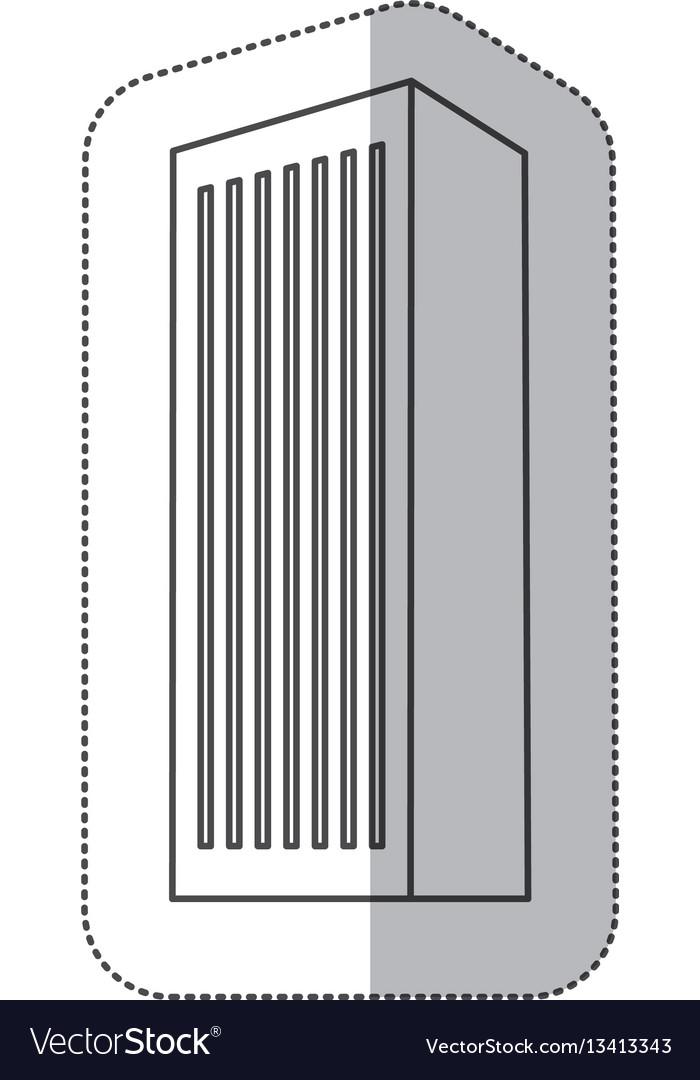 Sticker monochrome contour with office building