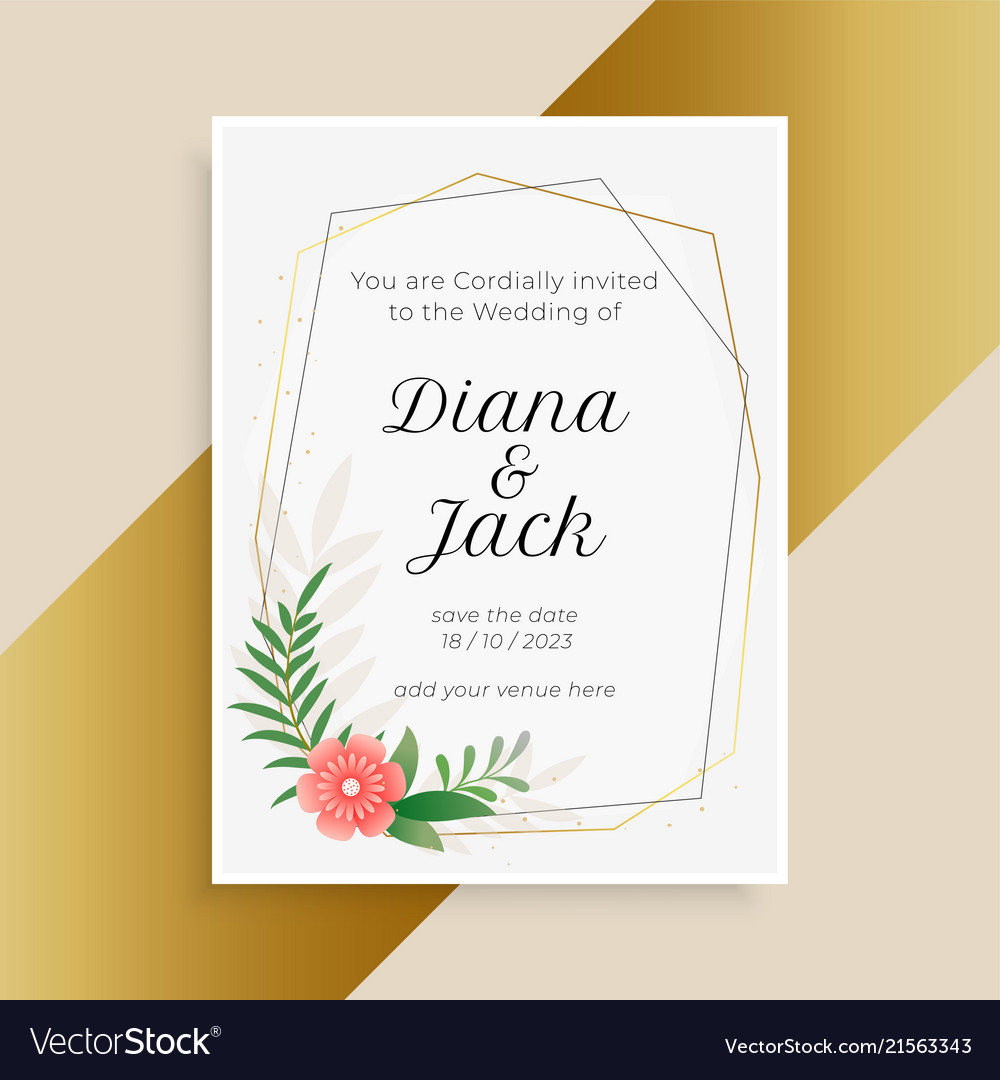 Wedding Invitation Template With Flower And Leaves
