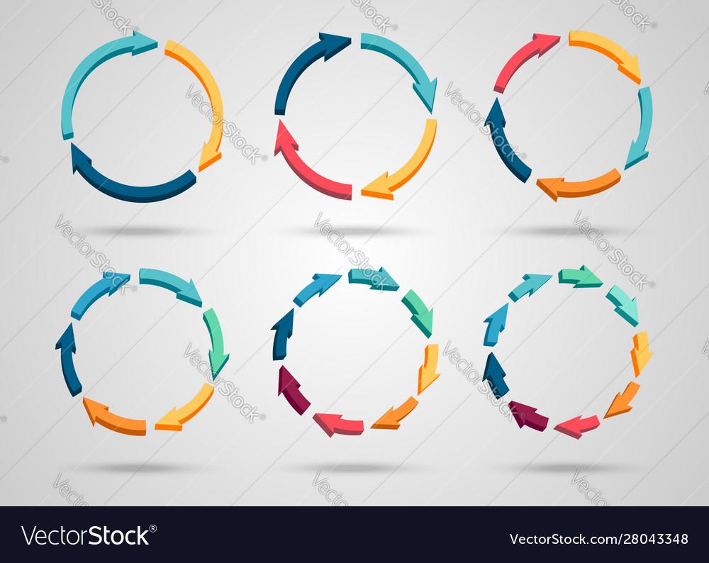 Colorful 3d circle arrows set