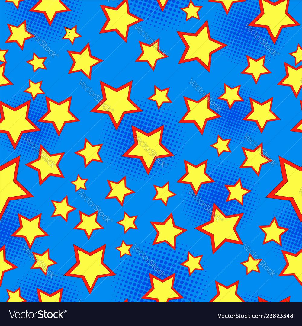 Comic starry bright seamless pattern