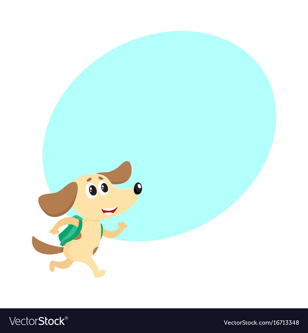 Cute dog puppy student character with backpack