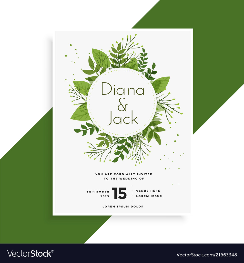 Green leaves wedding invitation card design Vector Image
