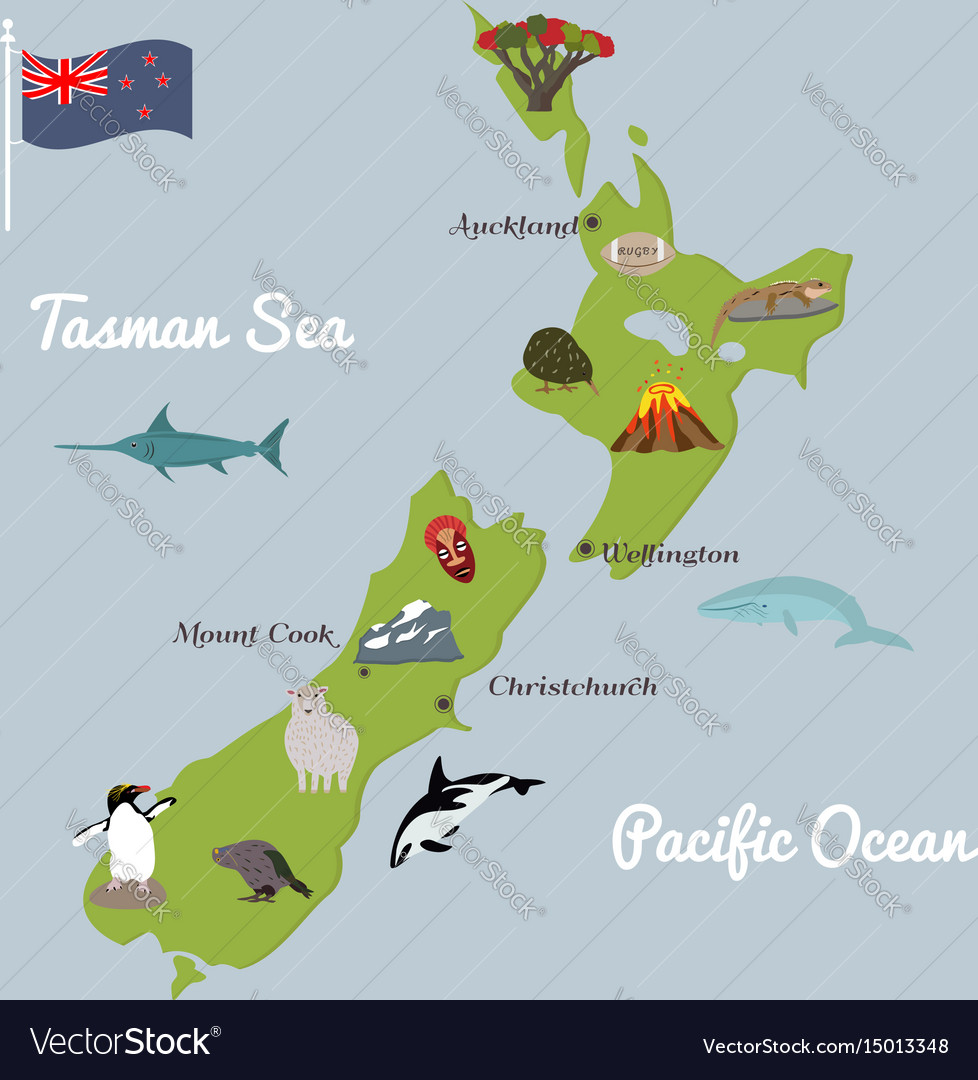 New Zealand Sightseeing Map.New Zealand Tourist Map With Famous Landmarks