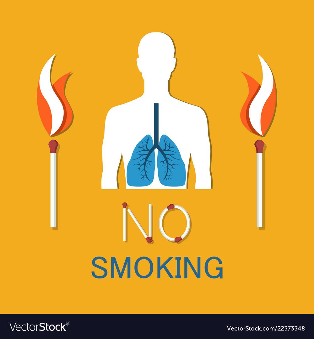 No Smoking Poster Human Damaged Lung Banner Vector Image