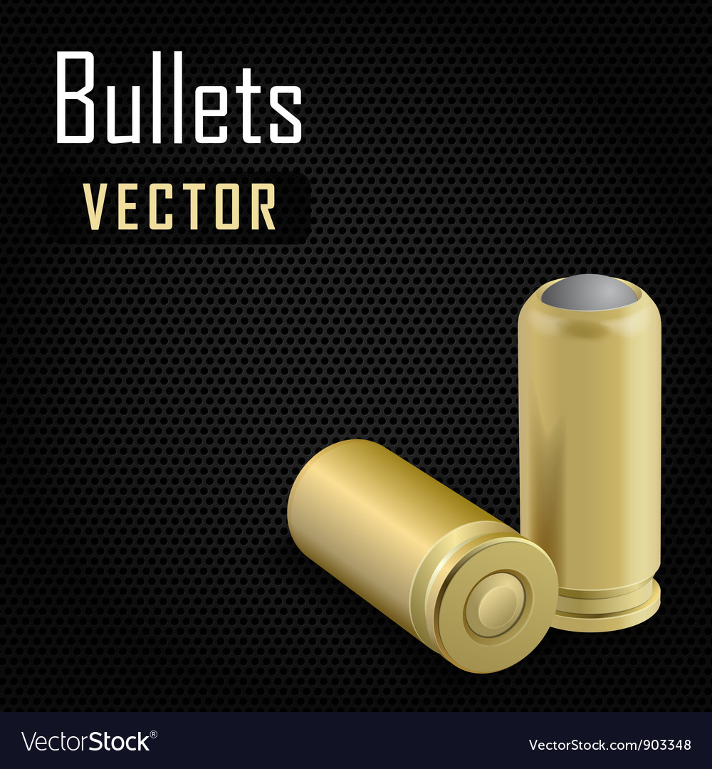 Pair bullets on black background