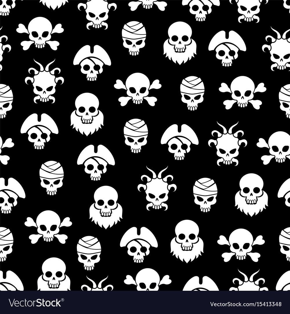 Pirate seamless pattern with white skulls