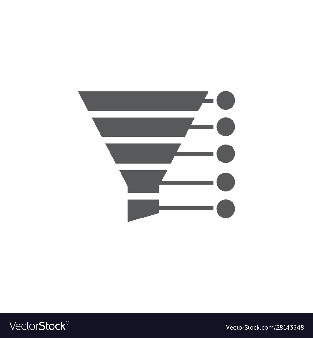 Sales funnel icon on white background