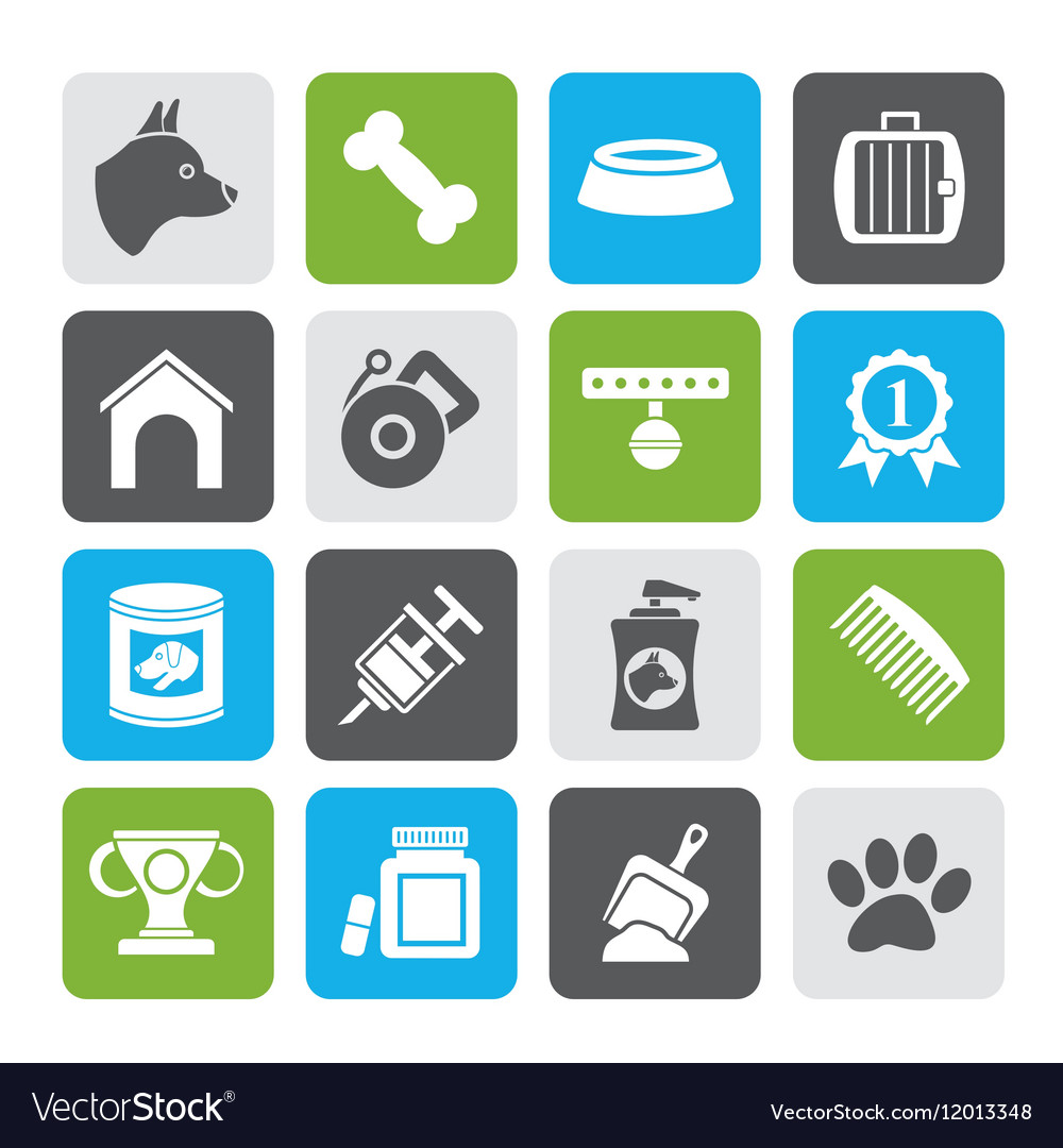 Silhouette Dog and Cynology object icons vector image