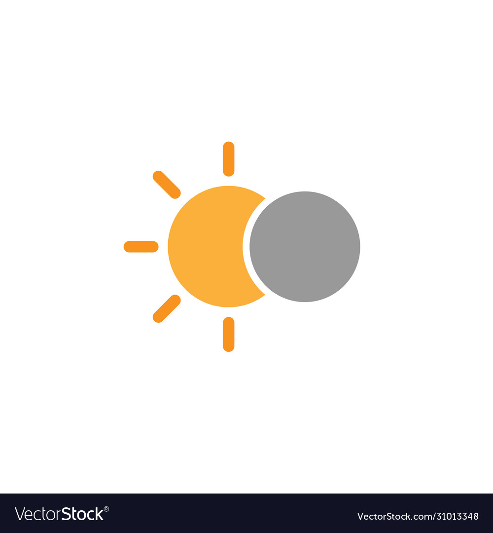 Solar eclipse simple icon on white background