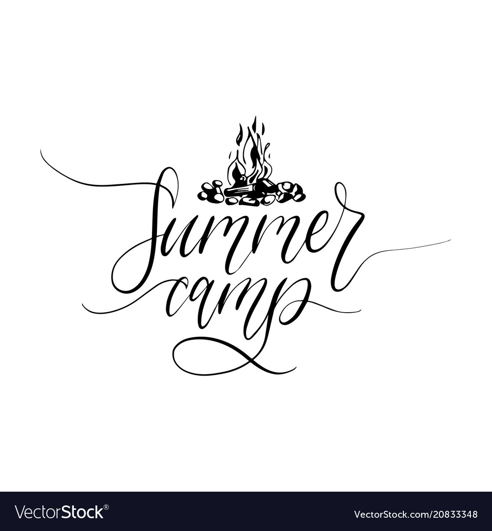 Summer camp poster with lettering
