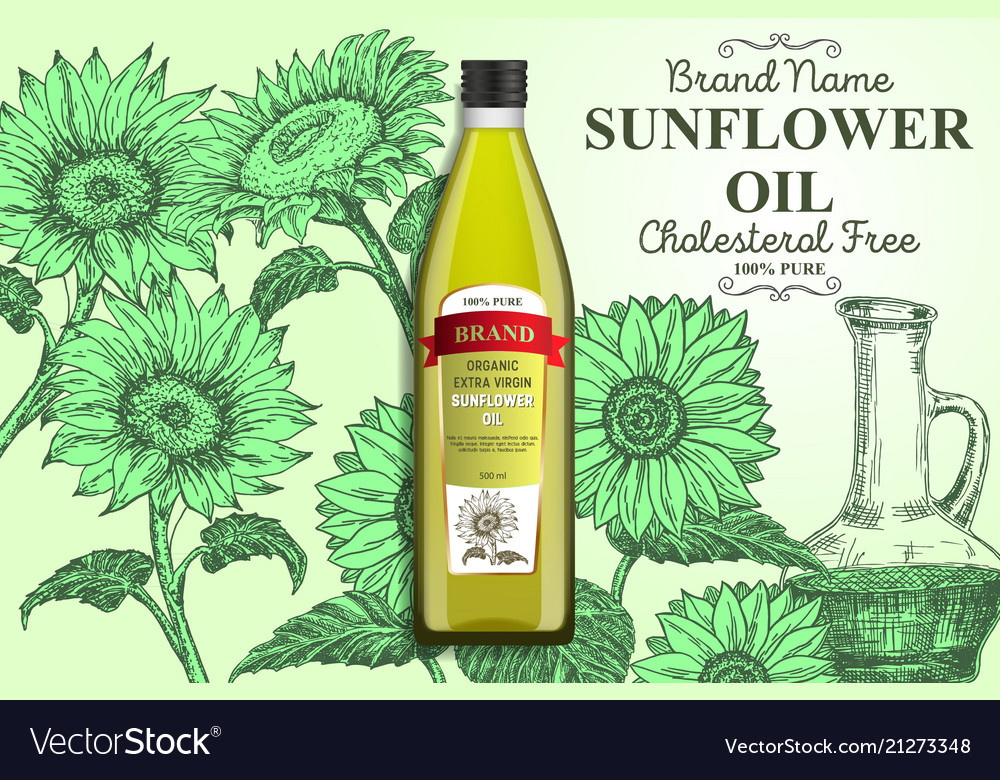 Sunflower oil ads poster banner template