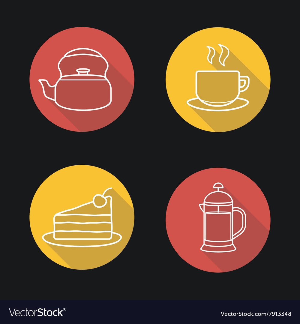 Tea and coffee flat linear long shadow icons set