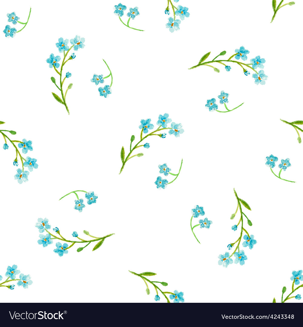 Watercolor Blue Flowers Royalty Free Vector Image