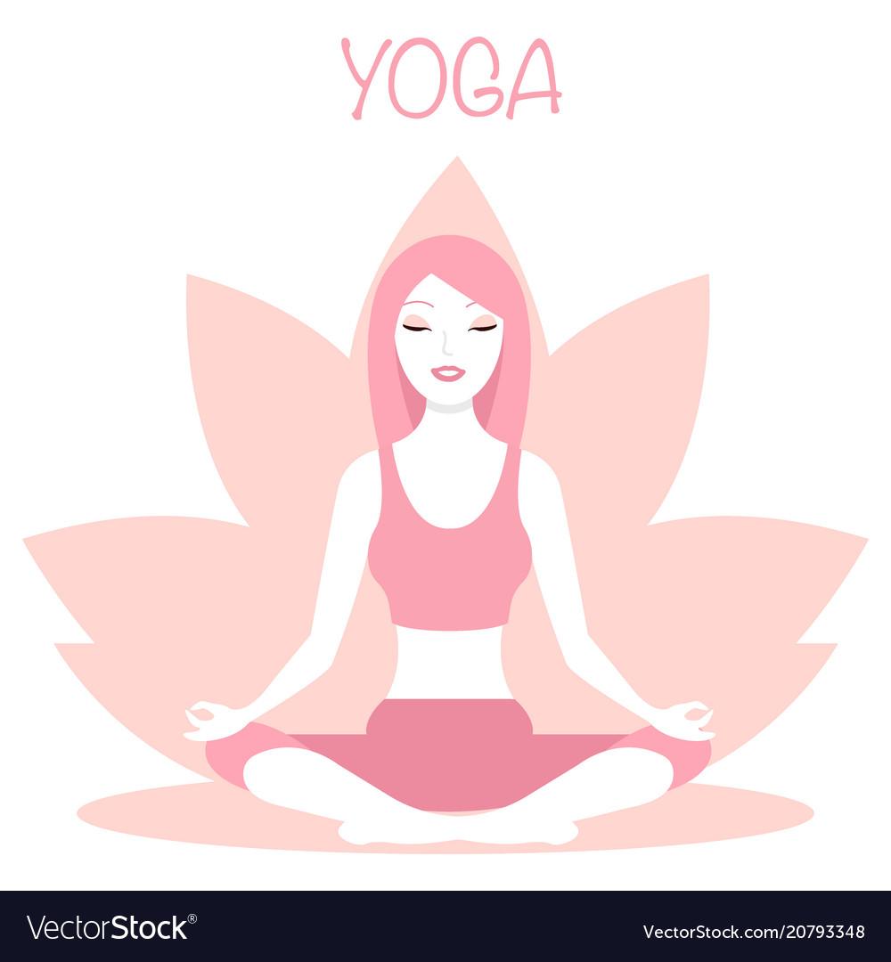 Yoga logo - emblem design on vector image