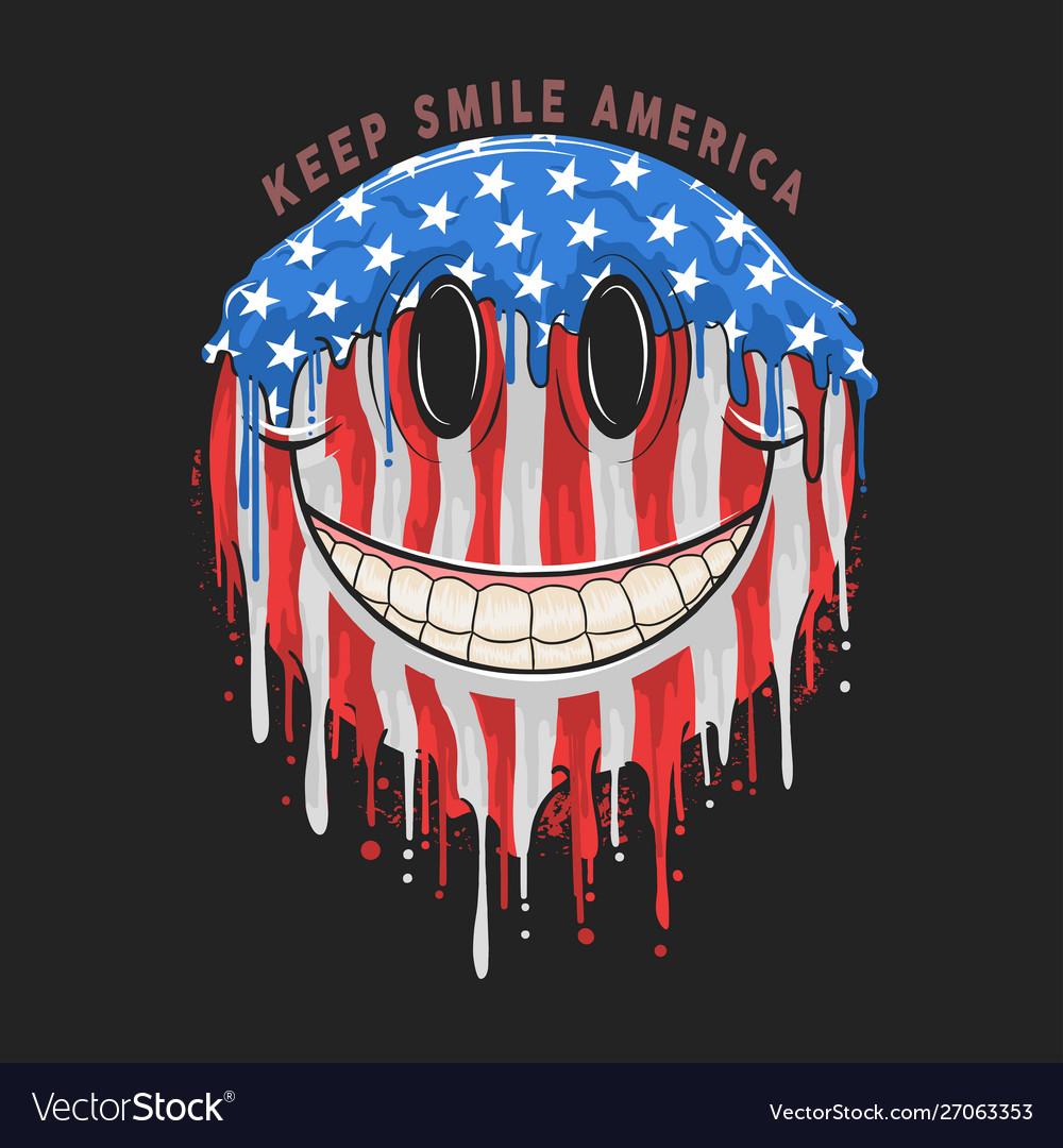 America usa flag smile emoticon emoji artwork
