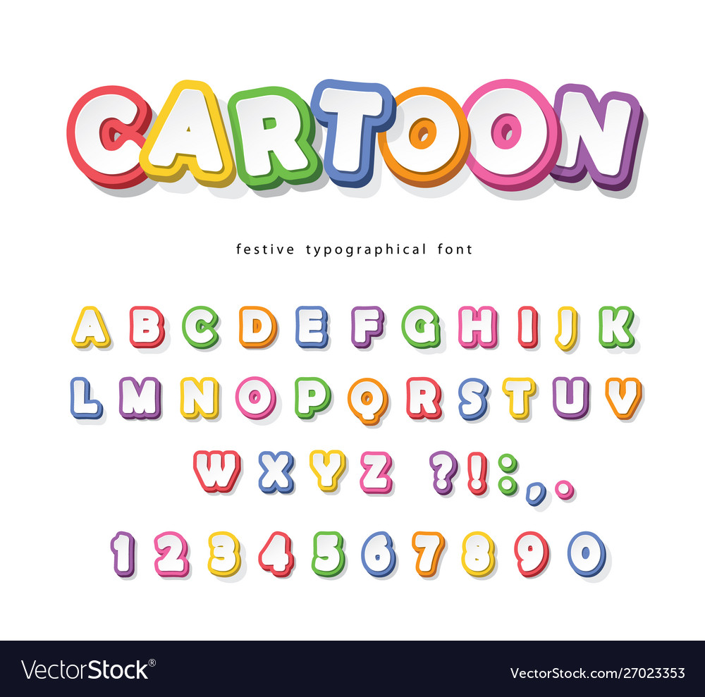 Cartoon bright font for kids paper cut out abc