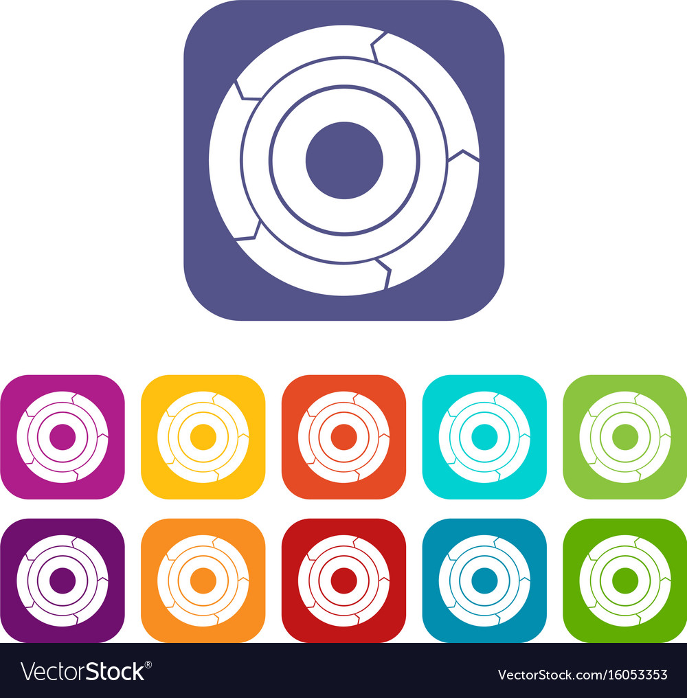 Chart pie with arrows icons set vector image