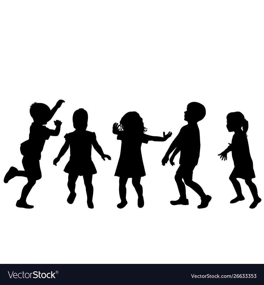 Children silhouettes playing on white background