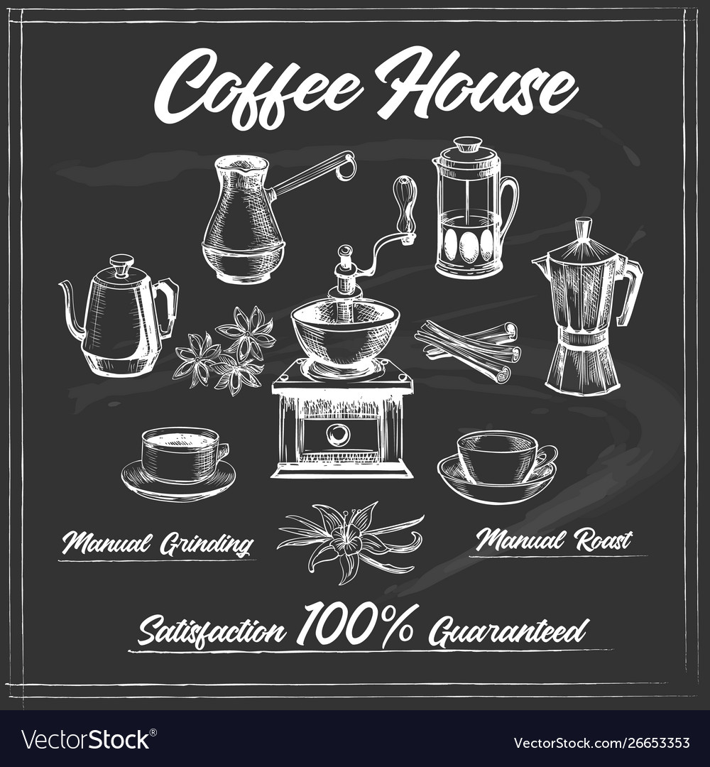 Coffee house poster on chalkboard