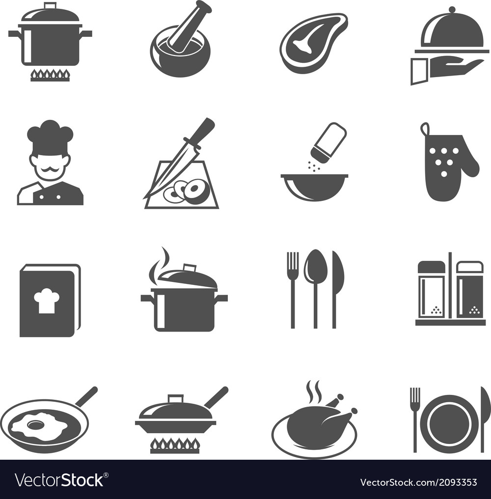 Cooking icons set vector image